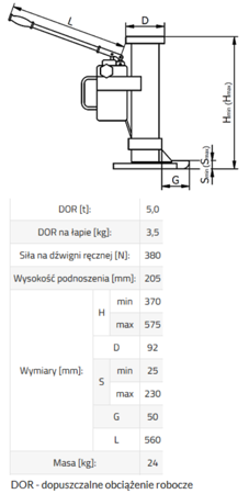 DOSTAWA GRATIS! 33917051 Podnośnik hydrauliczny BSE 5 (udźwig: 5 T)