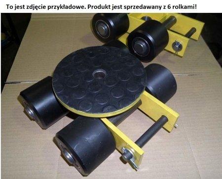 Wózek skrętny z otworem fi 21 w płycie nośnej, 6 rolkowy, rolki: 6x kompozyt (nośność: 7 T) 12267432